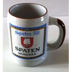 """Ancienne tasse verre chope en grès avec anse bière """" SPATEN MUNCHEN"""" neuve"""