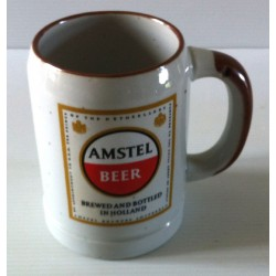 "Ancienne tasse verre chope en grès avec anse bière "" AMSTEL BEER"" neuve"