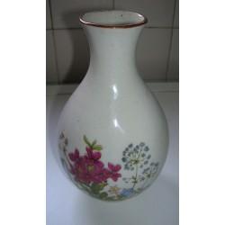 Vase deco fleur ceramique rebord marron hauteur 18 cm