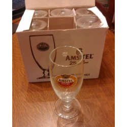 Lot de 6 verres collection bière Amstel gradué 25 cl + neuf sans boite d'origine collection vintage