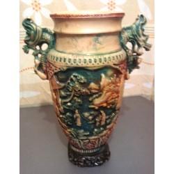 Ancien vase chinois asiatique barbotine relief dragon hauteur 40 cm signé RB occasion très bon état général