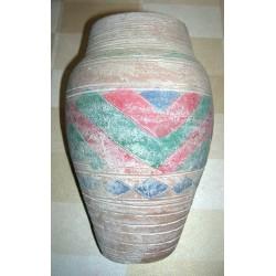 Ancien vase terre cuite fait main d'origine inconnue hauteur 22 cm rouge/vert