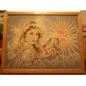 Ancien cadre canevas point de croix femme et licorne cadre contour bois