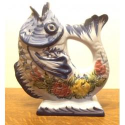 Ancien vase déco barbotine céramique Portugal forme poisson
