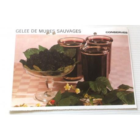 """FICHE CUISINE vintage rétro la bonne cuisine les conserves """" gelée de mûres sauvages """""""