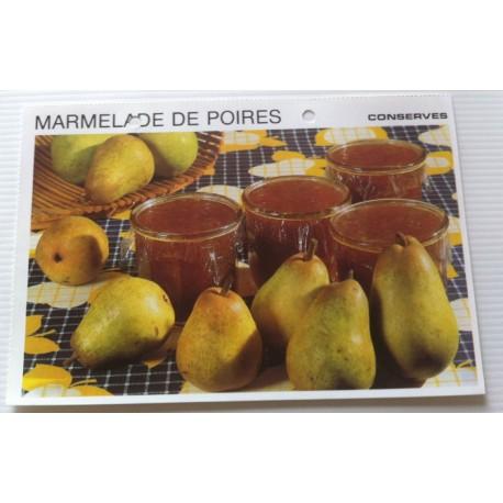 """FICHE CUISINE vintage rétro la bonne cuisine les conserves """"marmelade de poires"""""""