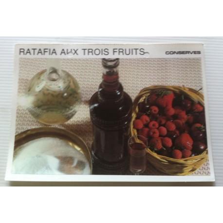 """FICHE CUISINE vintage rétro la bonne cuisine les conserves """" ratafia aux trois fruits """""""