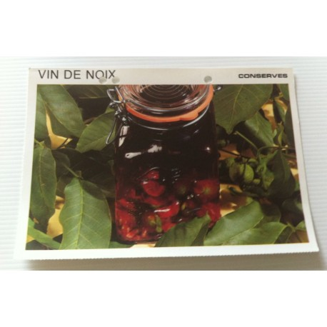 """FICHE CUISINE vintage rétro la bonne cuisine les conserves """"vin de noix"""""""
