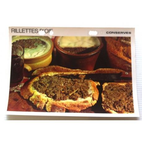 """FICHE CUISINE vintage rétro la bonne cuisine les conserves """"rillettes d'oie"""""""