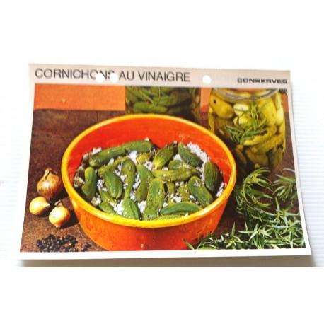 """FICHE CUISINE vintage rétro la bonne cuisine les conserves """"cornichons au vinaigre"""""""