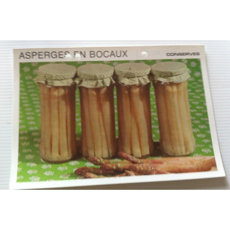 """FICHE CUISINE vintage rétro la bonne cuisine les conserves """" asperges en bocaux """""""