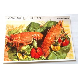 """FICHE CUISINE vintage rétro la bonne cuisine les crustacés """"langoustes océane"""""""