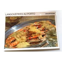"""FICHE CUISINE vintage rétro la bonne cuisine les crustacés """"langoustines au porto"""""""