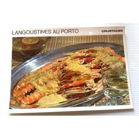 """FICHE CUISINE vintage rétro la bonne cuisine les crustacés """" langoustines au porto """""""