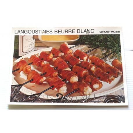 """FICHE CUISINE vintage rétro la bonne cuisine les crustacés """"langoustines au beurre blanc """""""