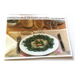 """FICHE CUISINE vintage rétro la bonne cuisine les fruits de mers """"cressonnière de saint jacques"""""""