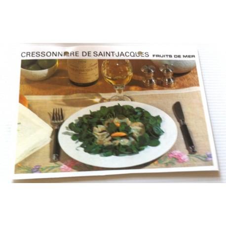"""FICHE CUISINE vintage rétro la bonne cuisine les fruits de mers """" cressonnière de saint jacques """""""