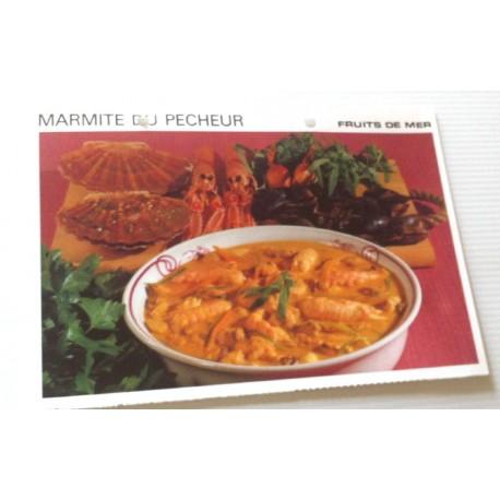 """FICHE CUISINE vintage rétro la bonne cuisine les fruits de mers """" marmite du pêcheur """""""