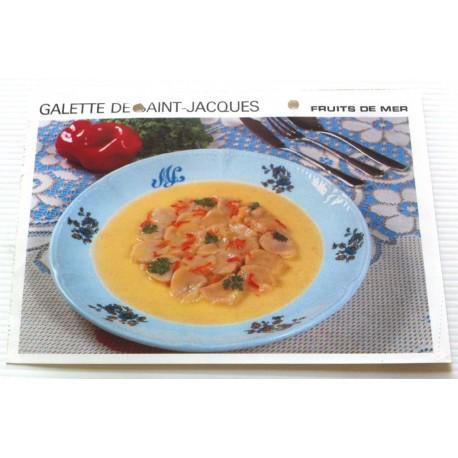 """FICHE CUISINE vintage rétro la bonne cuisine les fruits de mers """" galette de saint jacques """""""