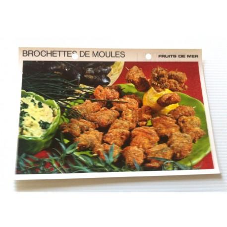 """FICHE CUISINE vintage rétro la bonne cuisine les fruits de mers """"brochettes de moules"""""""