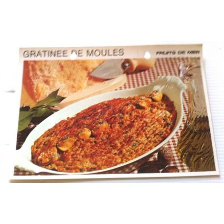 """FICHE CUISINE vintage rétro la bonne cuisine les fruits de mers """"gratinée de moules """""""