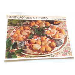 """FICHE CUISINE vintage rétro la bonne cuisine les fruits de mers """"saint jacques au porto"""""""