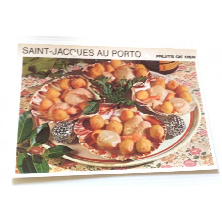 """FICHE CUISINE vintage rétro la bonne cuisine les fruits de mers """" saint jacques au porto """""""