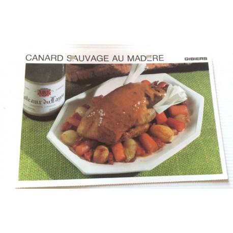"""FICHE CUISINE vintage rétro la bonne cuisine les gibiers """"canard sauvage au madère"""""""