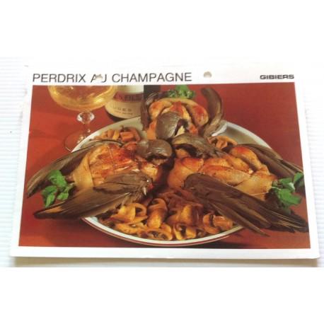 """FICHE CUISINE vintage rétro la bonne cuisine les gibiers """"perdrix au champagne"""""""