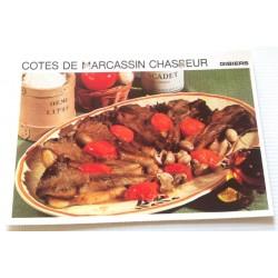 """FICHE CUISINE vintage rétro la bonne cuisine les gibiers """"côtes de marcassin chasseur"""""""