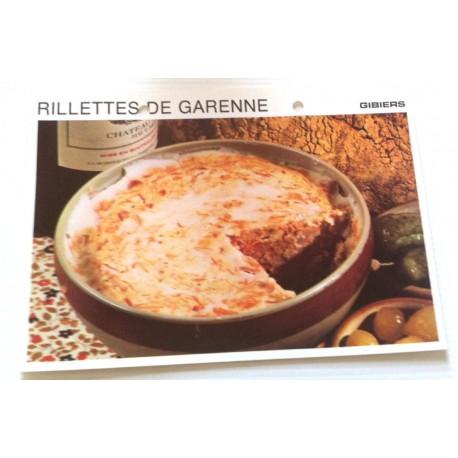 """FICHE CUISINE vintage rétro la bonne cuisine les gibiers """" rillettes de garenne """""""