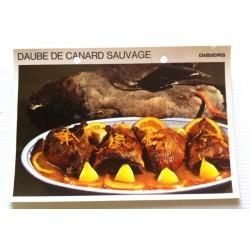 """FICHE CUISINE vintage rétro la bonne cuisine les gibiers """"daube de canard sauvage"""""""