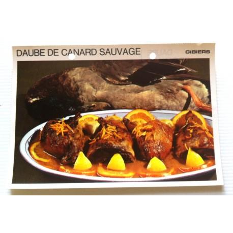 """FICHE CUISINE vintage rétro la bonne cuisine les gibiers """" daube de canard sauvage """""""