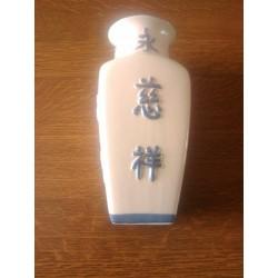 vase déco fleurs céramique barbotine relief chinois beige / gris occasion ancien be