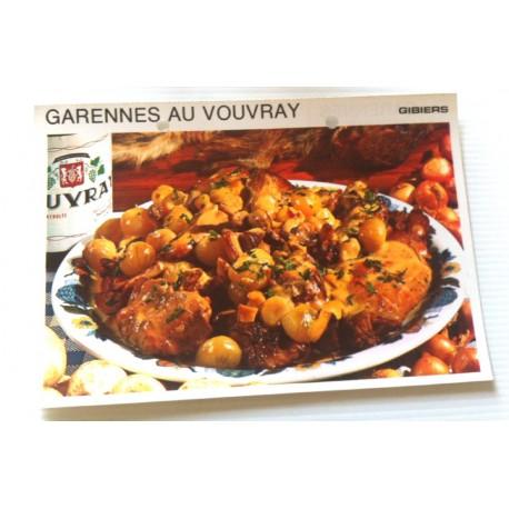 """FICHE CUISINE vintage rétro la bonne cuisine les gibiers """" garennes au vouvray """""""