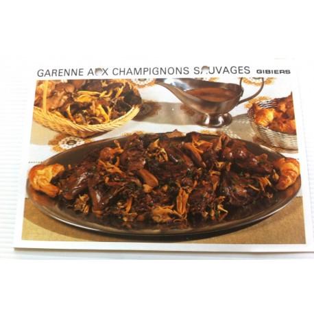 """FICHE CUISINE vintage rétro la bonne cuisine les gibiers """" garenne aux champignons sauvages"""""""