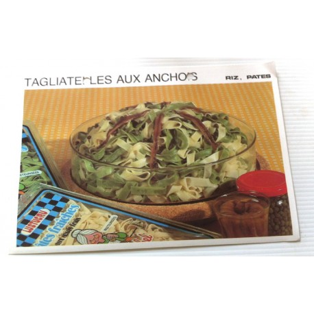 """FICHE CUISINE vintage rétro la bonne cuisine riz,pâtes """" tagliatelles aux anchois """""""