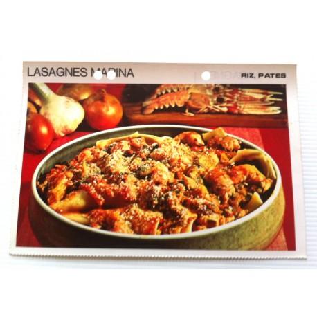 """FICHE CUISINE vintage rétro la bonne cuisine riz,pâtes """" lasagne marina"""""""