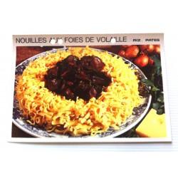 """FICHE CUISINE vintage rétro la bonne cuisine riz,pâtes """" nouilles aux foies de volaille"""""""