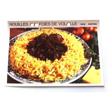 """FICHE CUISINE vintage rétro la bonne cuisine riz,pâtes """" nouilles aux foies de volaille """""""