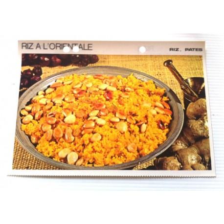 """FICHE CUISINE vintage rétro la bonne cuisine riz,pâtes """" riz a l'orientale"""""""