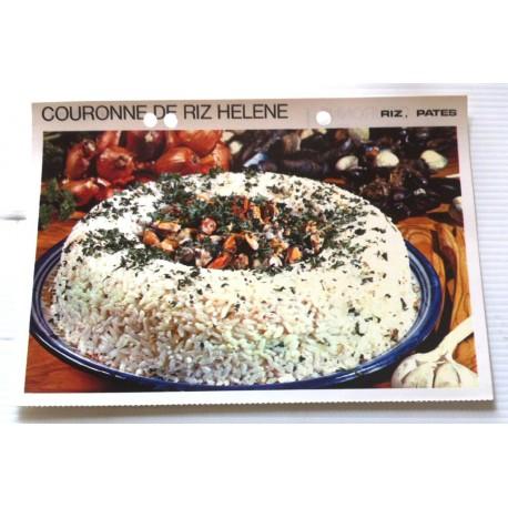 """FICHE CUISINE vintage rétro la bonne cuisine riz,pâtes """" couronne de riz hélène"""""""
