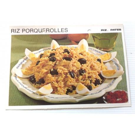 """FICHE CUISINE vintage rétro la bonne cuisine riz,pâtes """" riz porquerolles"""""""