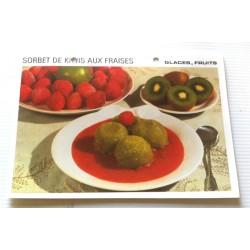 """FICHE CUISINE vintage rétro la bonne cuisine glaces,fruits """" sorbet de kiwis aux fraises"""""""