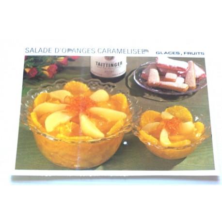 """FICHE CUISINE vintage rétro la bonne cuisine glaces,fruits """" salade d'oranges caramélisée"""""""