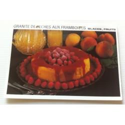 """FICHE CUISINE vintage rétro la bonne cuisine glaces,fruits """" granite de pêches aux framboises"""""""