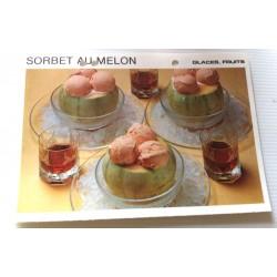 """FICHE CUISINE vintage rétro la bonne cuisine glaces,fruits """" sorbet au melon"""""""