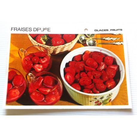"""FICHE CUISINE vintage rétro la bonne cuisine glaces,fruits """" fraises délices """""""