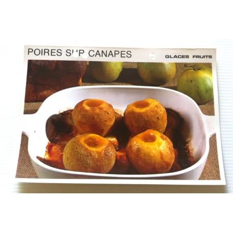 """FICHE CUISINE vintage rétro la bonne cuisine glaces,fruits """" poires sur canapés """""""