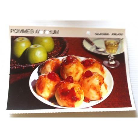 """FICHE CUISINE vintage rétro la bonne cuisine glaces,fruits """" pommes au rhum """""""